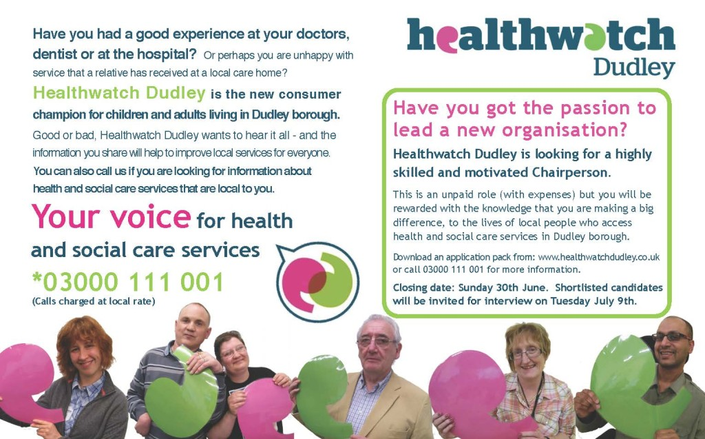 Image of newspaper advertisement for Healthwatch Dudley Chairperson