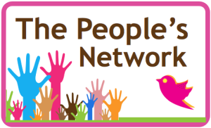 People's Network logo - mages include brightly coloured hands and a pink bird