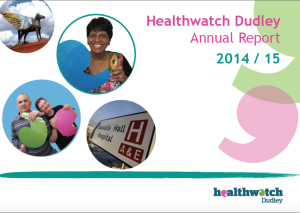Healthwatch Dudley Annual Report Cover 2014-15 PNG image