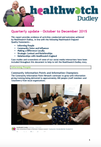 Quarterly Report front cover October - December 2015
