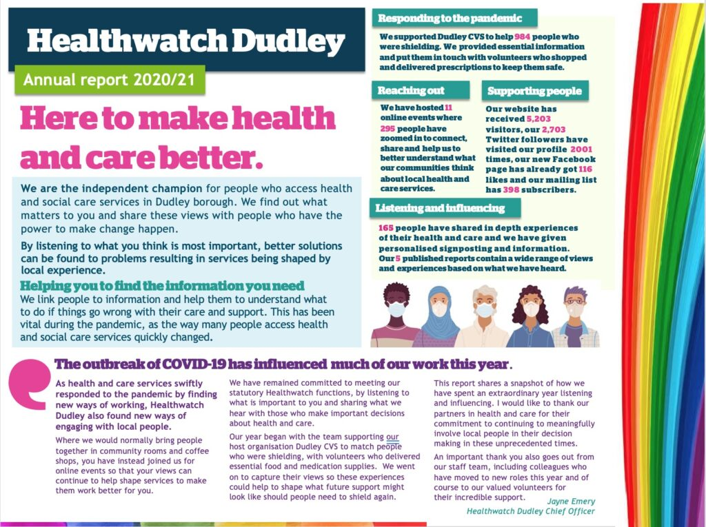 Healthwatch Dudley 2020 - 2021 Annual Report Cover - a screen shot of the linked pdf document with an image of people wearing masks and a colourful rainbow banner.